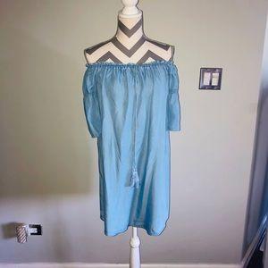 Chambray Blue Cotton Off Shoulder Loose Dress L